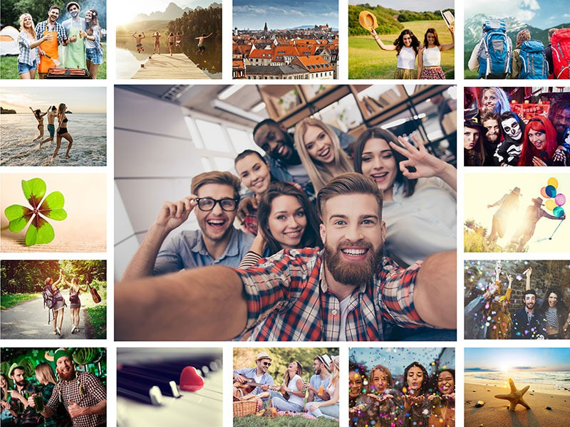 Photo Puzzle with Simple grid collage 17 Photos